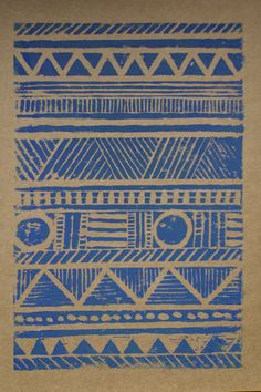 Aztec lino print greeting card by TheThursdayProject on Etsy, £1.20