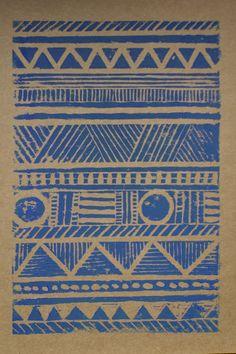 Aztec lino print gre