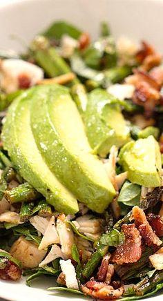 Chicken Bacon Avocado Salad with Roasted Asparagus