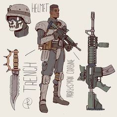 Trench American soldier  in anchorage alaska 2077 Part of a pending order  #conceptart #characterdesign #digitalart #fanart #fallout #warfare #military #weapons #soldier #army #scifi by fc_arts_