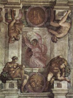 De schepping van het licht ~ Detail van de plafondschildering in de Sixtijnse Kapel ~ 1508-1512 ~ Fresco ~ Musei Vaticani, Capella Sixtina, Rome