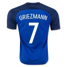 France Euro 2016 Home Authentic Men Soccer Jersey GRIEZMANN #7 Item Specifics - Brand: NIKE - Gender: Men's Adult - Model Year: 2016-2017 - Material: Polyester - Type of Brand Logo: Embroidered - Type