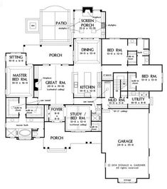 Craftsman Style House Plan - 4 Beds 3 Baths 2863 Sq/Ft Plan #929-7 love it but too wide !!Floor Plan - Main Floor Plan - Houseplans.com