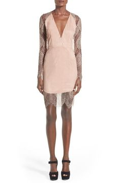 Luxuriously soft faux suede accentuates the bohemian vibes of a supremely pretty body-con dress dripping with intricate sheer lace. A plunging neckline tops the romantic look.@nordstrom