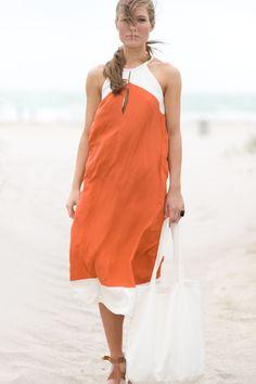 TIE WAIST DRESS - ORANGE