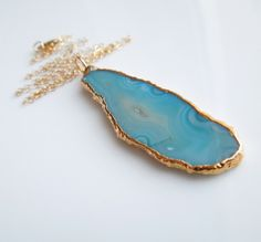 Agate Slice Necklace with Gold in Teal Blue : SALE Was, 65 Now, 60  www.etsy.com/shop/443Jewelry