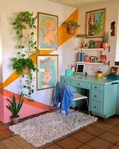 Home Interior Design One of the coolest home offices I've ever seen - Innenarchitektur Schlafzimmer - Aesthetic Room Decor, Retro Home Decor, Home And Deco, House Rooms, New Room, Room Inspiration, Home Interior Design, Interior Paint, Interior Office