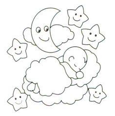 Dibujo bebé sobre nube. Idea para cuadro