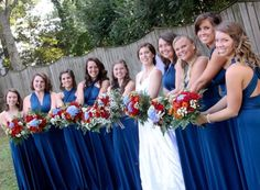 Fall wedding navy bridesmaids dresses bouquets pictures
