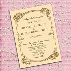 Great Gatsby Style Art Deco Wedding Invitation -  1920's, 20's Style  - Ivory and Gold - Printable DIY