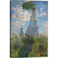 Woman with a Parasol (Madame Monet and Her Son) 1875 by Monet Canvas Print