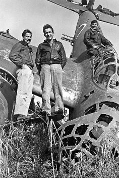 The 3rd Bomb Group occupied Atsugi Air Field had been the Japanese Naval Air Academy location. These men are posing in front of aYokosuka P1Y Ginga Frances. 1946.