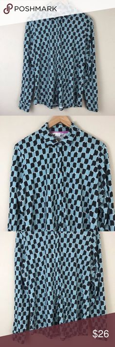 "BODEN Women's checker print blouse BODEN Women's checker print blouse long sleeve 14 button front turquoise casual  arm pit to arm pit 22"" sleeve 24.5"" side seam 16.5"" length from shoulder 26"" Boden Tops Blouses"