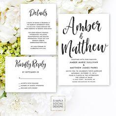 Black and White Wedding Invitation Suite - Classy Wedding Invitation Reply Card Details Card Invitation Modern Calligraphy Printable Wedding