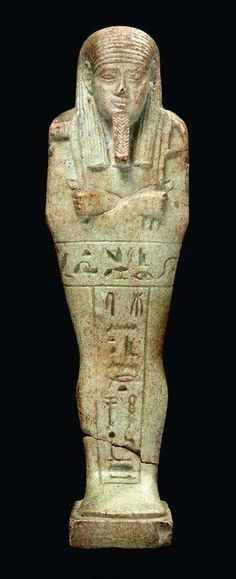 Egyptian faience shabti for the Royal Chancellor of Lower Egypt, Horudja. Probably Giza, Dynasty 27-30.