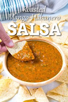 Roasted Mango-Habanero Salsa Recipe - Roasted habanero peppers and sauteed mango come together to create a highly flavorful salsa that is slightly sweet. It serves up great as a traditional salsa, but also as a topping for fish. Mango Habanero Salsa, Salsa De Habaneros, Fruit Salsa, Salsa Salsa, Jalapeno Salsa, Habenero Salsa, Mango Peach Salsa, Strawberry Salsa, Mango Salsa