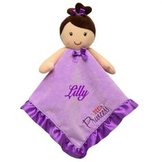 Personalized Little Princess Snuggle Blankie Doll with Rattle  - 14 Inch