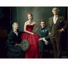 Jessica Chastain with Judith Ivey, Dan Stevens, and David Strathairn, photo by Annie Leibovitz, Vogue US