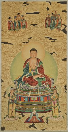 Buddha with sage immortals in the clouds Amitabha Buddha, Gautama Buddha, Buddha Buddhism, Lotus Buddha, Art Buddha, Chinese Painting, Chinese Art, China, Fine Art