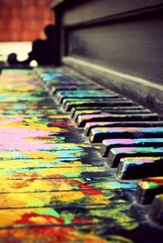 life is like a piano some cords dont sound pretty Others do. sometimes you make a mistake other days you play your story pefect. just like this piano live your life colorful! by nicole kroeger The Piano, Piano Man, Grand Piano, Music Love, Music Is Life, Color Music, Pub Radio, Painted Pianos, Street Art