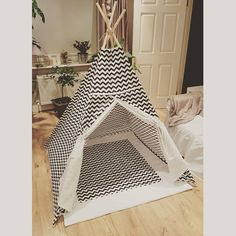 Items similar to Black and White chevron kids teepee play tent / zigzag kids wigwam on Etsy
