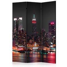 """Room Divider - Insomnia in New York [Room Dividers]"" - Wallpaper Murals UK 3d Wallpaper Mural, Modern Wallpaper, New York, Sibling Room, Decorative Room Dividers, Decoration Originale, Insomnia, Architecture, Modern Interior"