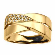 Anel Largo Ouro Amarelo com Diamantes    JOIAS   ALIANÇAS EM OURO   VERSE… 55e4fd4655