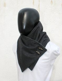 Men scarf. Men cowl,Wide, Dark grey wool with toggle buttons . Trendy, modern, chunky  and cozy.