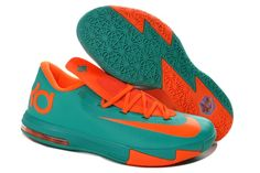 online store cd77d 47d2e Nike Zoom Kevin Durant s KD VI Low Basketball shoes Green Orange Kevin  Durant Shoes,