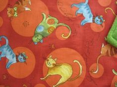 """www.catchinglizards.com Fab Cats Catnip Blanket  Fab colors on these FAB CATS Designer Fabric .   This beautiful blanket has a generous hand full of 100% Organic Canip grown in Montana ... NO FILERS the reverse side is soft Apple Green Fleece  18"""" x 24"""" in size"""