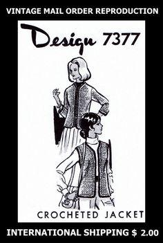 7377 1960's Vint Mail Order Design Womens CROCHET JACKET Coat Crocheting Pattern #PATTERNPEDDLER7377