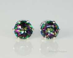 Genuine Fire Mystic Topaz Round Sterling Silver Earrings (Choose Size)  #Stud