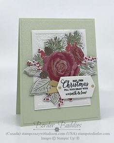 Christmas Time by Stampin' Up! Stamped Christmas Cards, Hand Stamped Cards, Holiday Cards, Christmas Flowers, Christmas Themes, Christmas Crafts, Christmas Time Is Here, All Things Christmas, Free Cards