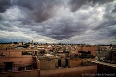 Medina Marrakesh Morocco All of a sudden the clear blue sky disappeared and a very gritty storm swept across the rooftops of Marrakesh.#morocco #travel #muchmorocco #visitmorocco #marrocos