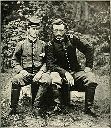 Second Lieutenant George A. Custer had his photo taken with ex-classmate, friend, and captured Confederate prisoner, Lt. J.B. Washington, an aide to Gen. Johnston, at Fair Oaks, Virginia, 1862.