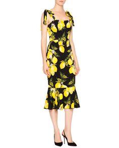 Sleeveless Lemon Flounce-Hem Dress, Yellow/Black by Dolce & Gabbana at Neiman Marcus.