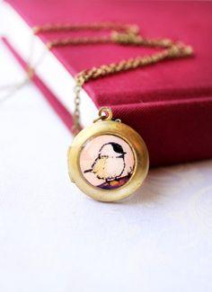 Chickadee -- Gold Toned Locket, Mini Round Brass Art Necklace. $ 28.00