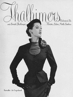 A tremendously elegant daywear look from an ad in the September 1952 edition of Vogue. #vintage #fashion #1950s