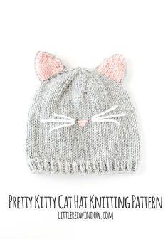 Pretty Kitty Cat Hat Free Knitting Pattern!   littleredwindow.com