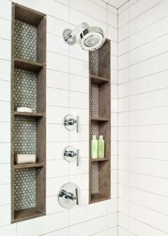 Tall shower niches. Blue, brown, and subway tile. by hilary