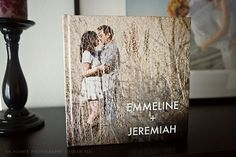 Guest book with engagement pictures. Guests sign where there are blank spaces or pages. Would be so cute to use as a coffee table book.