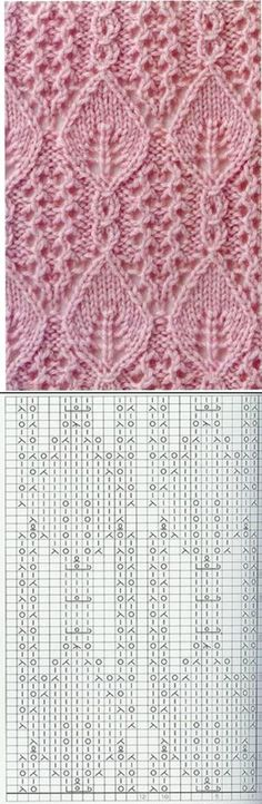 Lace Knitting Pattern with Leaves Nr 32
