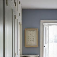 not sure which room, lounge stairs maybe, bedroom with walls in Lulworth Blue Estate Emulsion and woodwork/ceiling in Wimborne White Estate Eggshell and Estate Emulsion. Farrow Ball, White Rooms, White Bedroom, Blue Bedrooms, Farrow And Ball Lulworth Blue, Bedroom Colors, Bedroom Decor, Bedroom Colour Schemes Blue, Farrow And Ball Bedroom