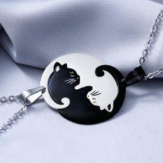 Collana Yin Yang Luna e Artemis Bff Necklaces, Best Friend Necklaces, Couple Necklaces, Best Friend Jewelry, Couple Jewelry, Cute Necklace, Wolf Jewelry, Animal Jewelry, Luna Et Artemis