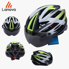 LANOVA Brand Safety Professional MTB Mountain Road Bike Bicycle Helmet With Glasses Ultralight Integrally Riding Cycling Helmet