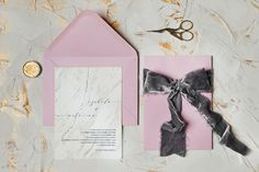 Marble background, minimalist wedding invitation design, dusty pink for the envelope and grey silk velvet ribbon to tie it up. Minimalist Wedding Invitations, Wedding Invitation Design, Wedding Stationery, Envelope Liners, Velvet Ribbon, Dusty Pink, Personalized Wedding, Marble, Gallery Wall