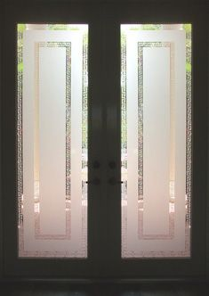 glass, glass etching, on-site glass etching, Boynton Beach, Florida Frosted Glass Design, Frosted Glass Door, Sliding Glass Door, Glass Etching Designs, Etched Glass Door, Frosted Window Film, Pooja Room Door Design, Sandblasted Glass, House Front Door