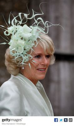Camilla Duchess of Cornwall during Laura Parker Bowles and Harry Lopes - Wedding at St Cyriac's Church in Lacock, Great Britain. Philip Treacy Hats, Camilla Duchess Of Cornwall, Fascinator Hats, Fascinators, Headpieces, Camilla Parker Bowles, English Royalty, Cocktail Hat, Royals