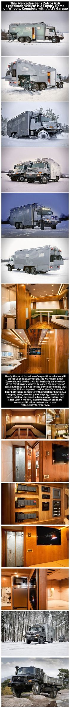 Mercedes Benz Zetros 6x6 Is A Luxury Home On Wheels With ATV Garage...my idea of a 'Westie'