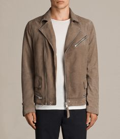 AllSaints New Arrivals: Aldaro Suede Biker Jacket.  The Aldaro Biker Jacket is made specially for summer. Cut from a lightweight tan suede to pair easily with both black denim and washed out summer colours. Featuring authentic detailing taken from our biker archive, such as press stud lapels and side pockets, as well as metal zip pockets.